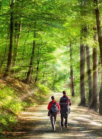 ein Paar macht einen Spaziergang im Wald