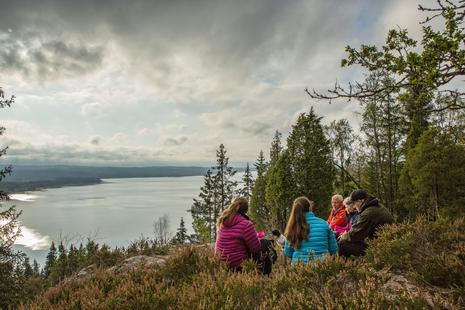 Gruppe Wanderer macht Rast auf dem Svinkulle und geniesst Aussicht