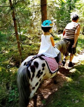 Mädchen auf einem Pony reitet durch den Wald